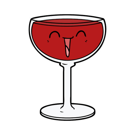 Hand drawn cartoon glass of wine
