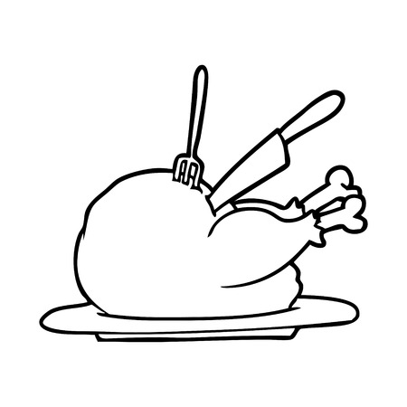 Hand drawn cooked turkey being carved