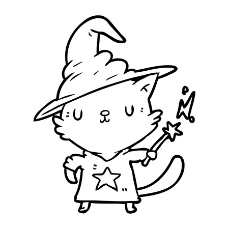 Hand drawn magical amazing line drawing of a cat wizard Çizim