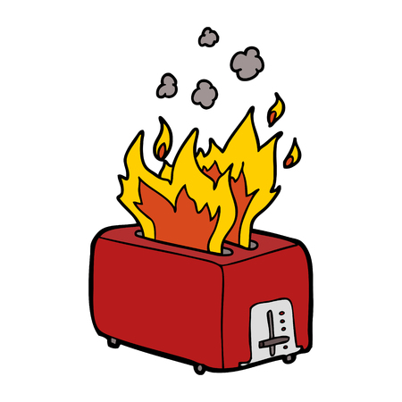 Hand drawn cartoon burning toaster