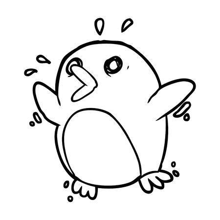 手描きの恐ろしいペンギン  イラスト・ベクター素材