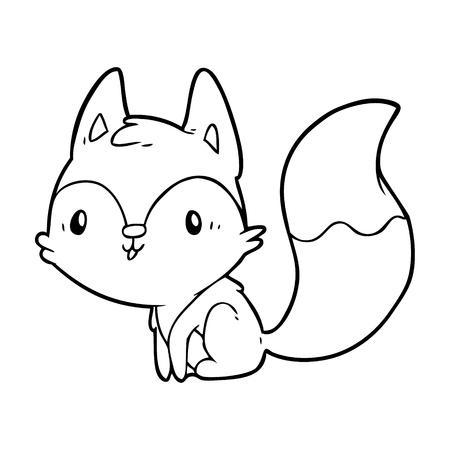 Hand drawn cute line drawing of a fox