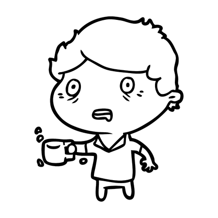 Hand drawn man jittery from drinking too much coffee