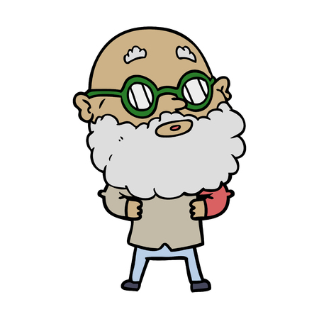 Cartoon curious man with beard and glasses