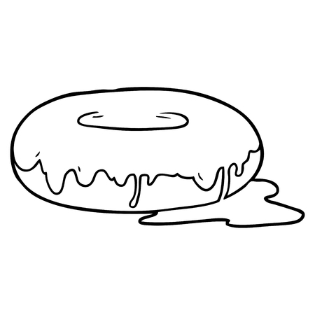Line drawing of a donut isolated on white background