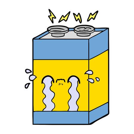 Cartoon crying battery isolated on white background