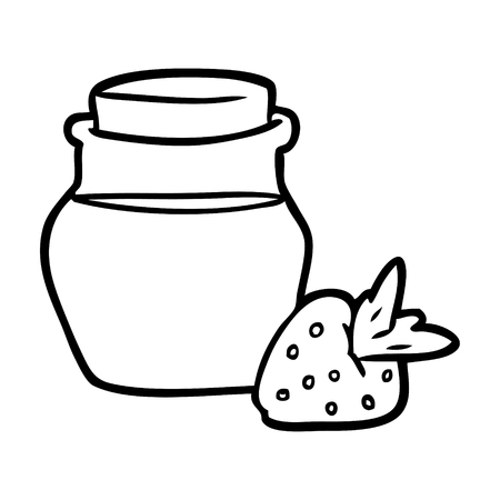 Hand drawn jar of strawberry jam