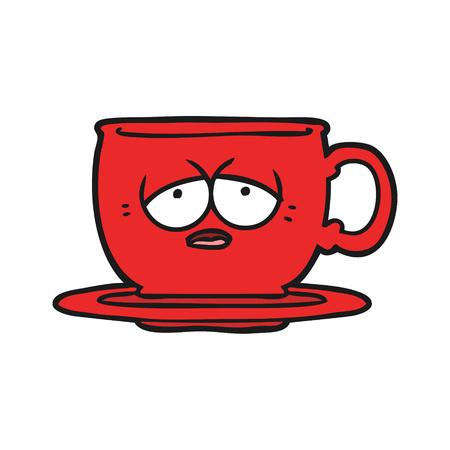 Main thé tasse tirée à la main Banque d'images - 95006733