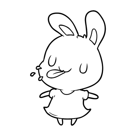 Hand drawn cute line drawing of a rabbit blowing raspberry
