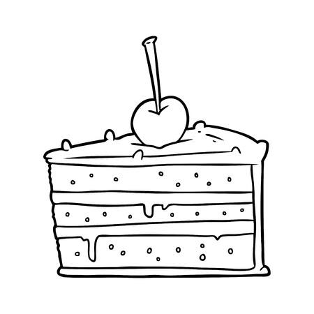 pastel de chocolate dibujado a mano sabroso Ilustración de vector