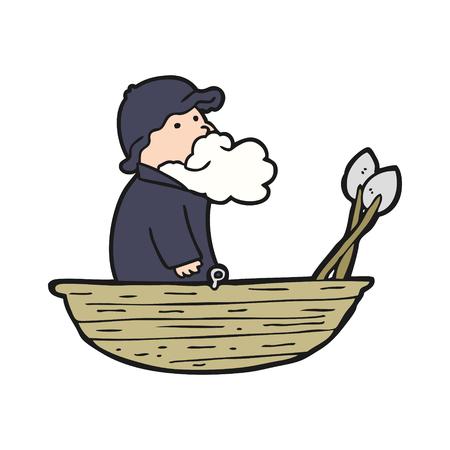 手描き漫画漁師  イラスト・ベクター素材