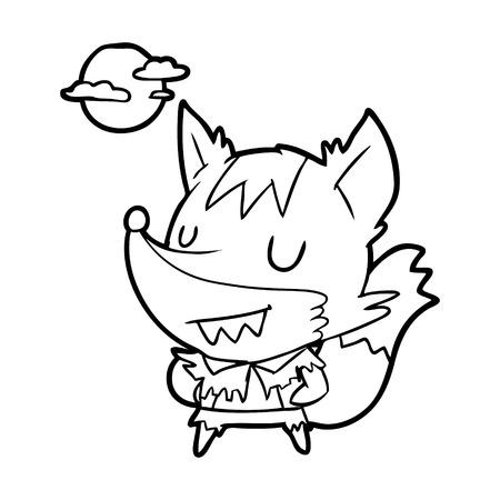 Hand drawn Halloween werewolf Ilustrace