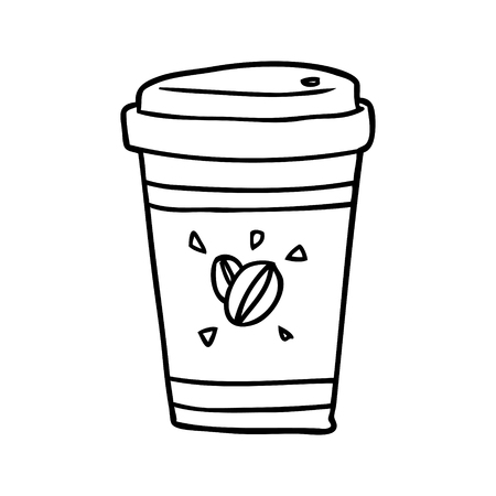Hand drawn cup of takeout coffee