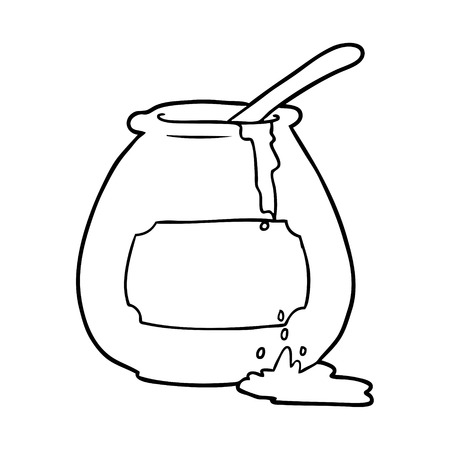 手描きハチミツポット  イラスト・ベクター素材