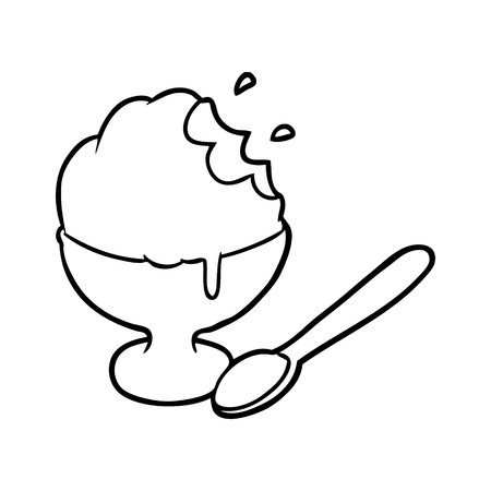 Line drawing of a ice cream dessert in bowl