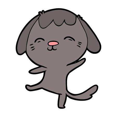 Hand drawn happy cartoon dancing dog