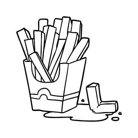 Hand drawn junk food fries