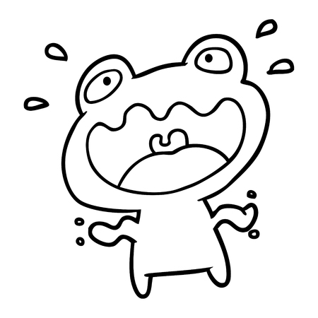 Hand drawn frog frightened