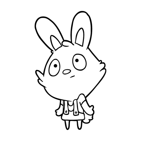Hand drawn rabbit shrugging shoulders