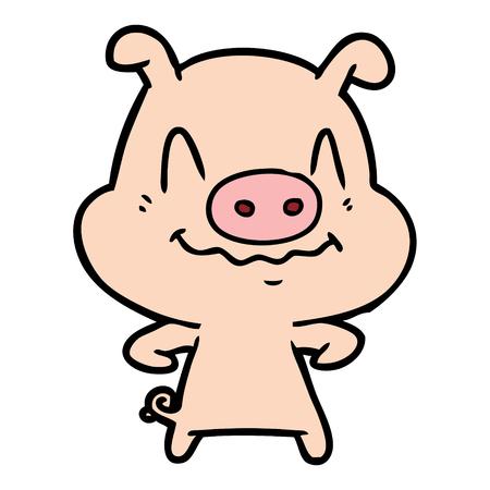 흰 배경에 고립 신경 만화 돼지