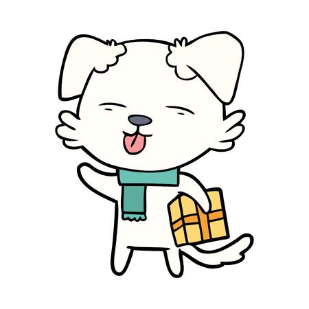 Hand drawn cartoon dog with Xmas gift Ilustração