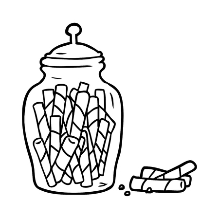 Hand drawn traditional candy sticks in jar
