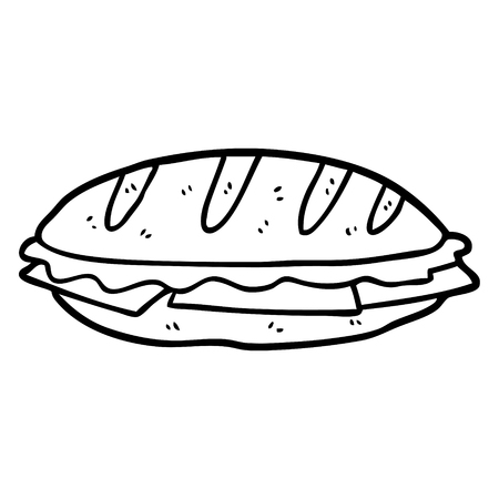 Sándwich de queso dibujado a mano Foto de archivo - 95062326