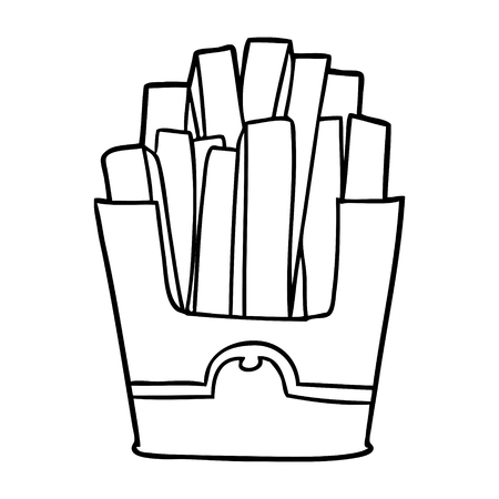 Line drawing of a junk food fries