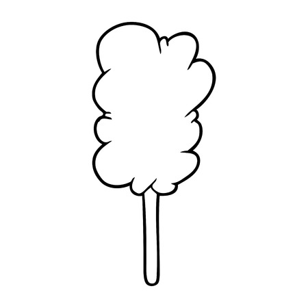 Hand drawn candy floss on stick