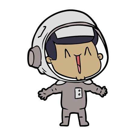 Happy cartoon astronaut isolated on white background