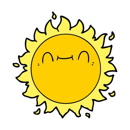 Tiré par la main heureux de bande dessinée soleil Banque d'images - 95062335
