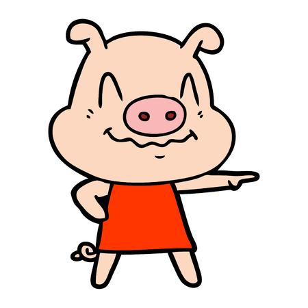 Hand drawn nervous cartoon pig wearing dress
