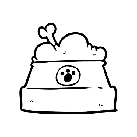 Hand drawn bowl of dog food