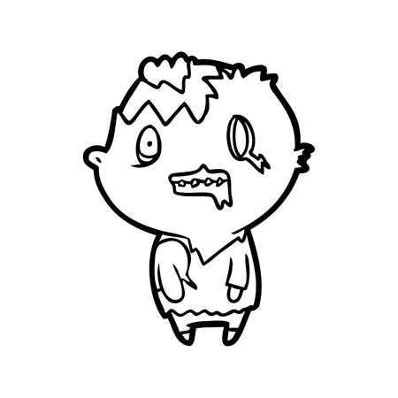 Desenho de linha de um zumbi isolado no fundo branco Foto de archivo - 94928768
