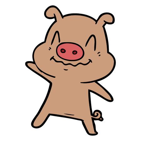 白い背景に隔離された神経質な漫画の豚