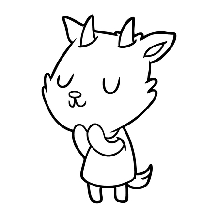Cute line drawing of a goat isolated on white background