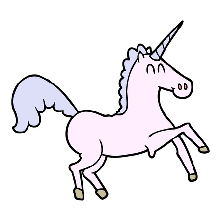 Hand drawn cartoon unicorn