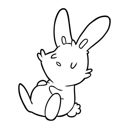Hand drawn rabbit sleeping Illustration