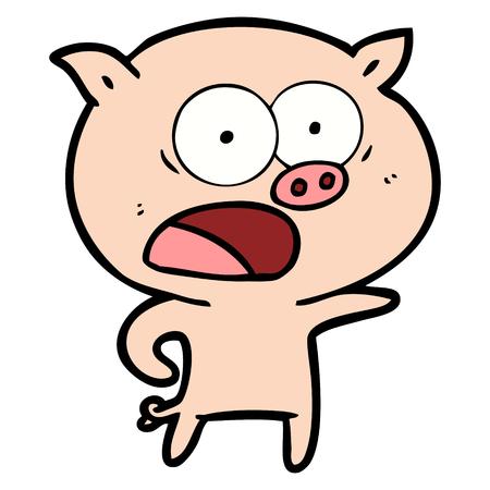 Hand drawn cartoon pig shouting Ilustrace
