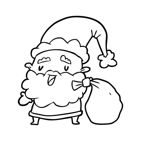 Hand drawn Santa Claus carrying sack of presents Illustration