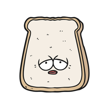 Hand drawn cartoon tired old slice of bread