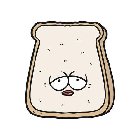 Hand gezeichnete Karikatur müde alte Scheibe Brot Standard-Bild - 95070617