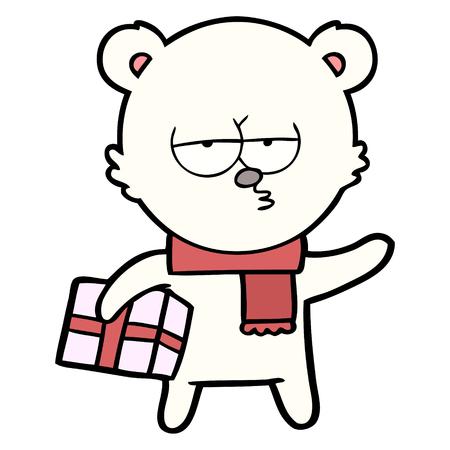 Hand drawn Christmas polar bear cartoon