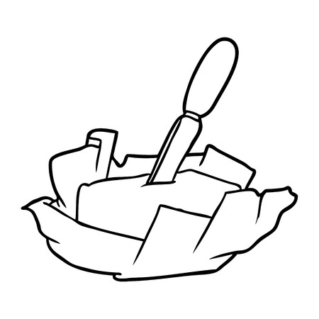 Hand drawn traditional pat of butter with knife Illustration