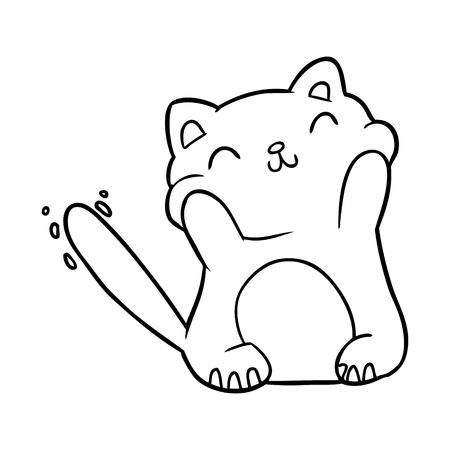 Hand drawn very happy cute line drawing of a cat