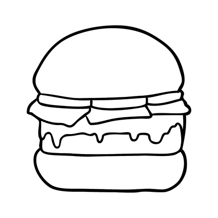 Hand drawn stacked burger
