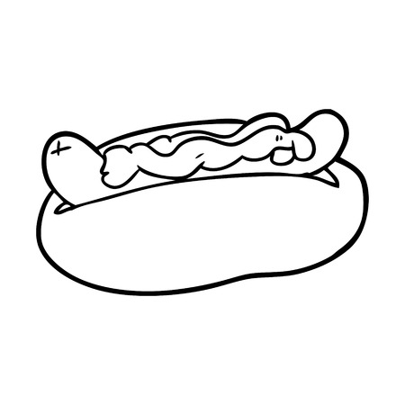Hand drawn hotdog with mustard and ketchup