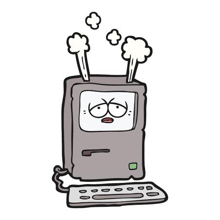 Hand drawn cartoon tired computer overheating