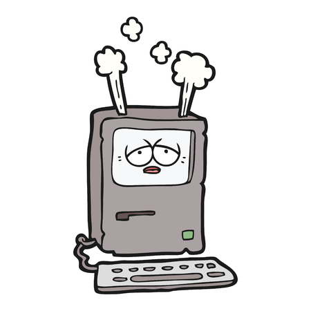 Hand drawn cartoon tired computer overheating