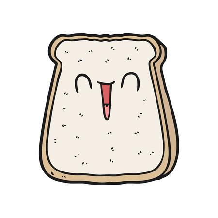 Hand gezeichnete Karikatur Scheibe Brot Standard-Bild - 95062986